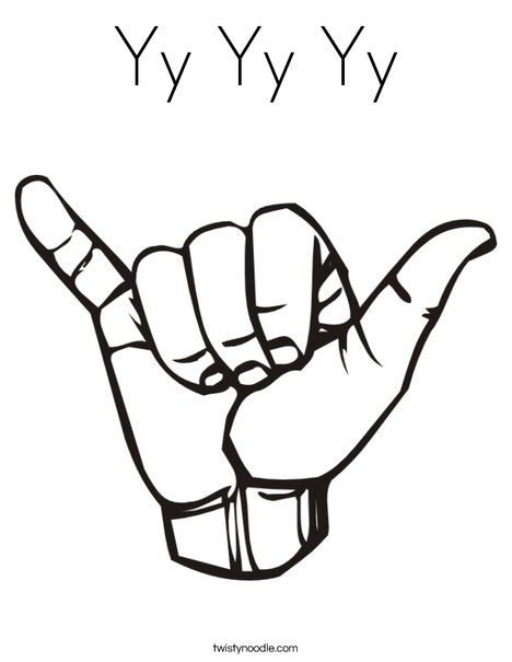 Sign Language Letter Y Coloring Page