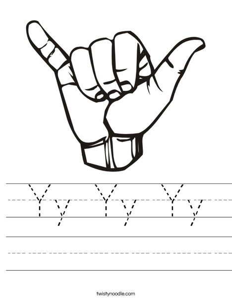 Sign Language Letter Y Worksheet