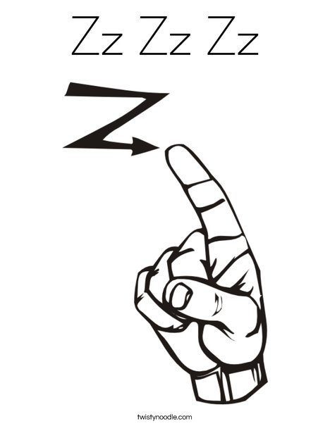 Sign Language Letter Z Coloring Page