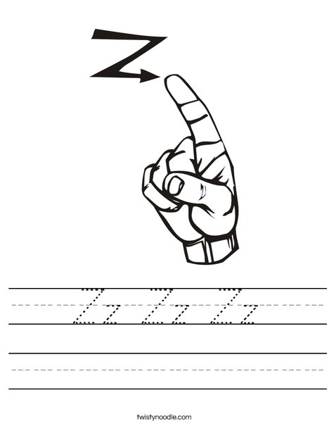 Sign Language Letter Z Worksheet