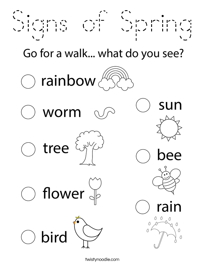 Signs of Spring Coloring Page