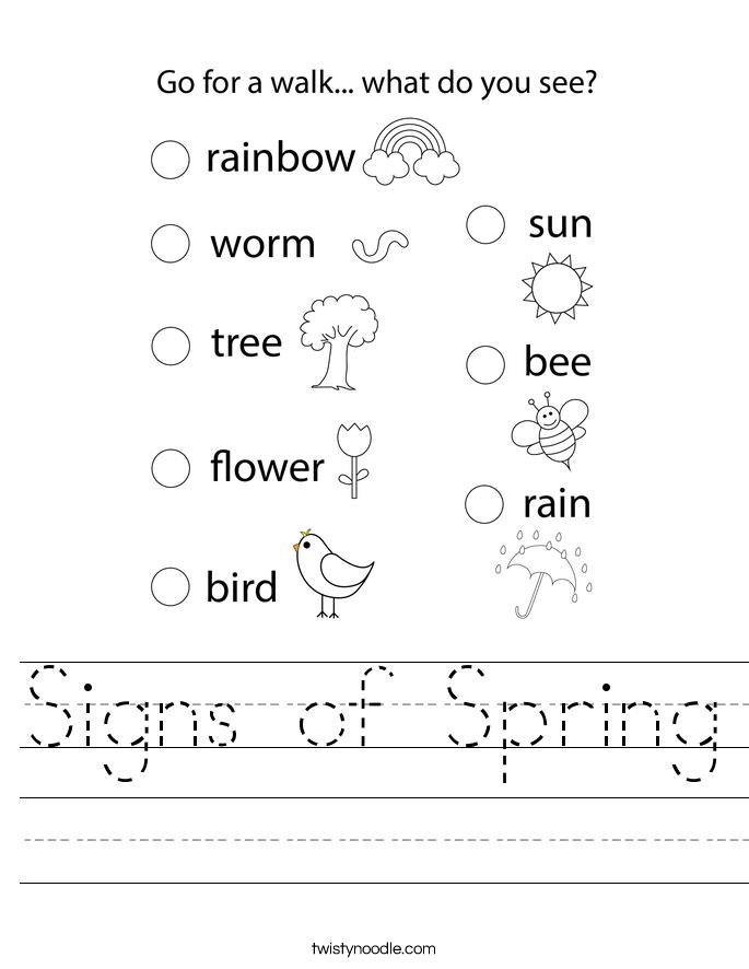 Signs of Spring Worksheet