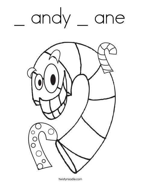Silly Candy Cane Coloring Page