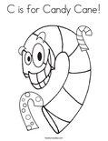 C is for Candy Cane! Coloring Page