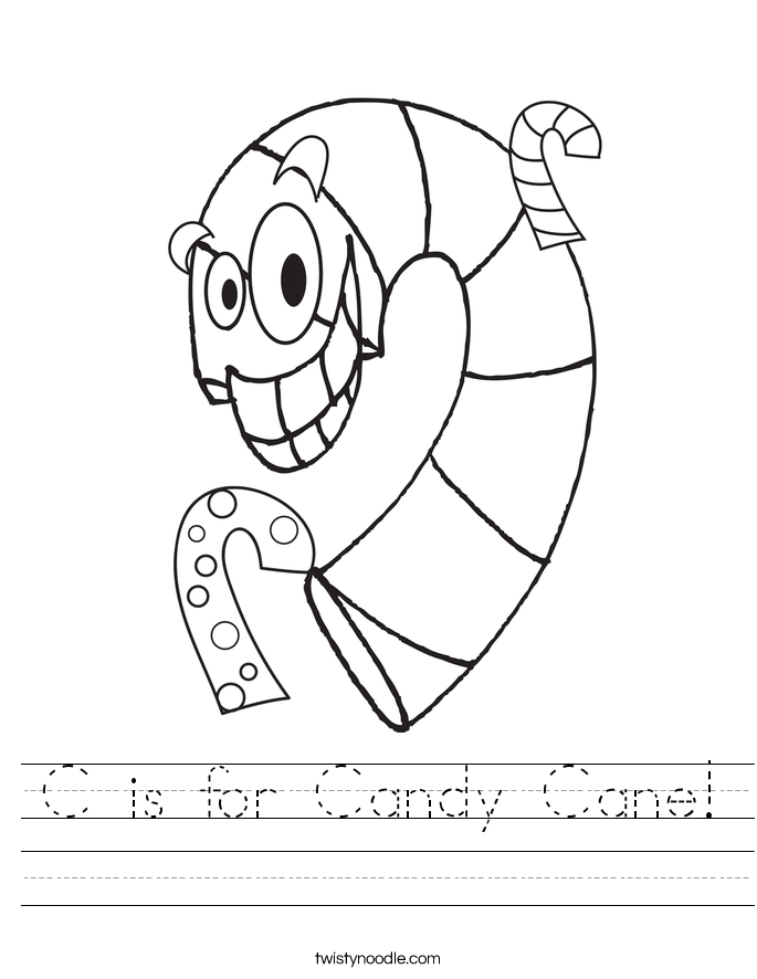 C is for Candy Cane Worksheet - Twisty Noodle