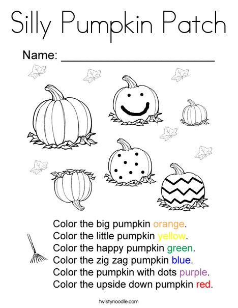 Silly Pumpkin Patch Coloring Page