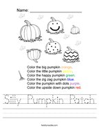 Silly Pumpkin Patch Handwriting Sheet