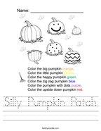 Silly Pumpkin Patch Handwriting Sheet