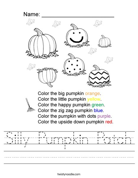 Silly Pumpkin Patch Worksheet