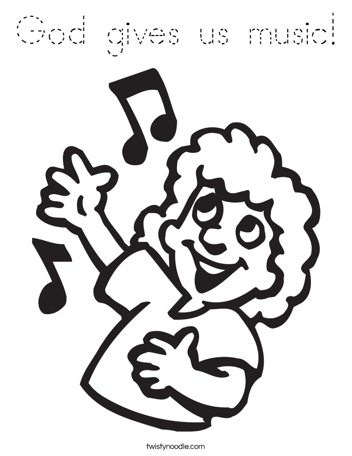 God gives us music! Coloring Page