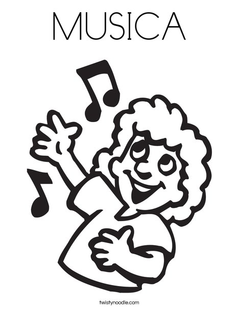 Singer with Notes Coloring Page
