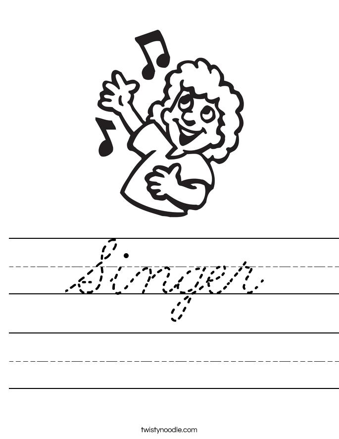 singer worksheet - cursive