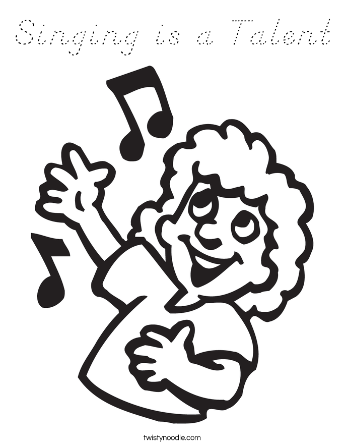 Singing is a Talent Coloring Page