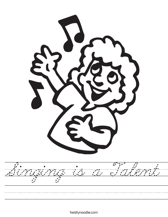 Singing is a Talent Worksheet