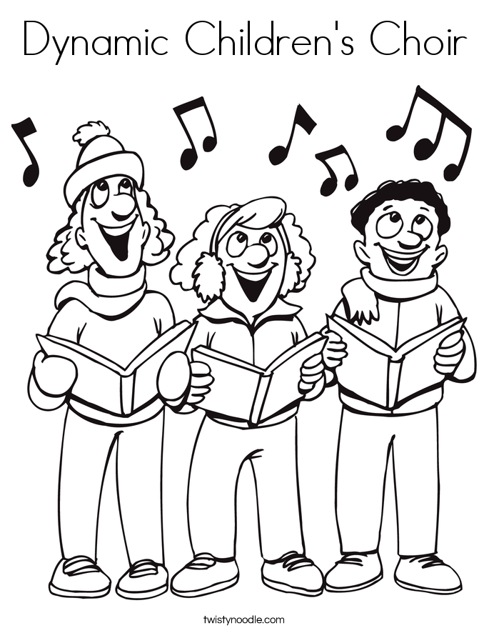 Dynamic Children\'s Choir Coloring Page - Twisty Noodle