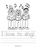 I love to sing! Worksheet