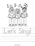 Let's Sing Handwriting Sheet