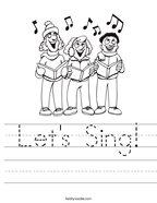 Let's Sing Handwriting Sheet
