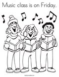 Music class is on Friday. Coloring Page