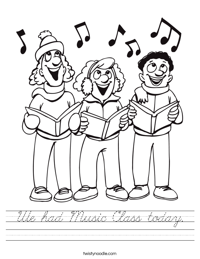 We had Music Class today. Worksheet
