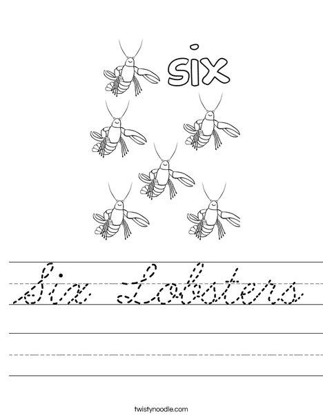 Six Lobsters Worksheet