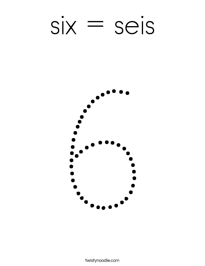 six = seis Coloring Page