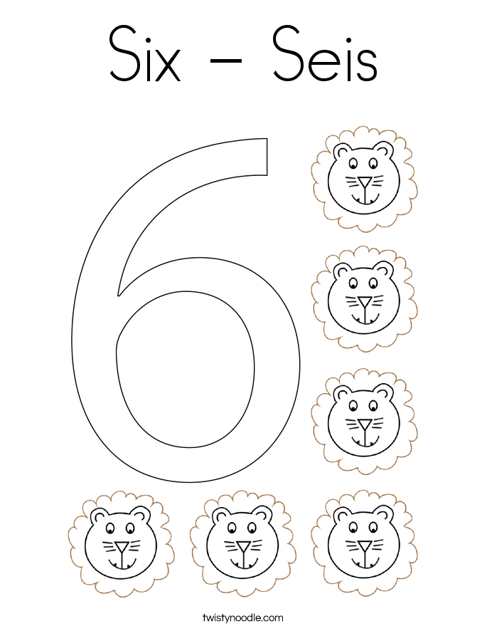 Six - Seis Coloring Page