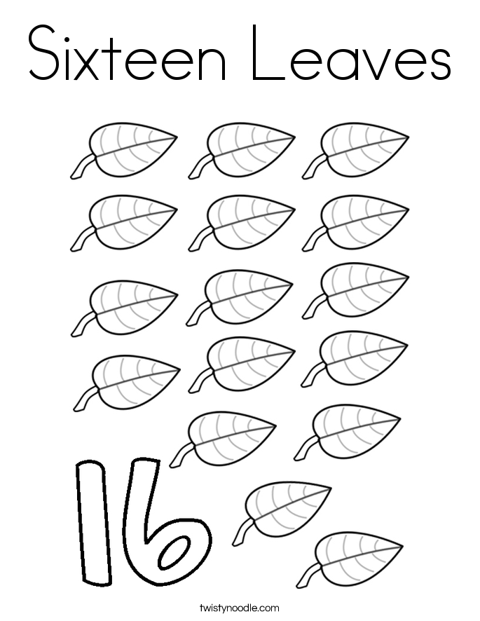 Sixteen Leaves Coloring Page