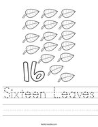 Sixteen Leaves Handwriting Sheet