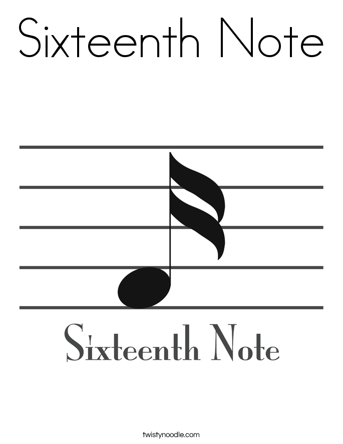 Sixteenth Note Coloring Page