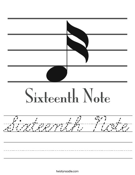 Sixteenth Note Worksheet