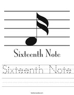 Sixteenth Note Handwriting Sheet
