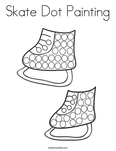 Skate Dot Painting Coloring Page