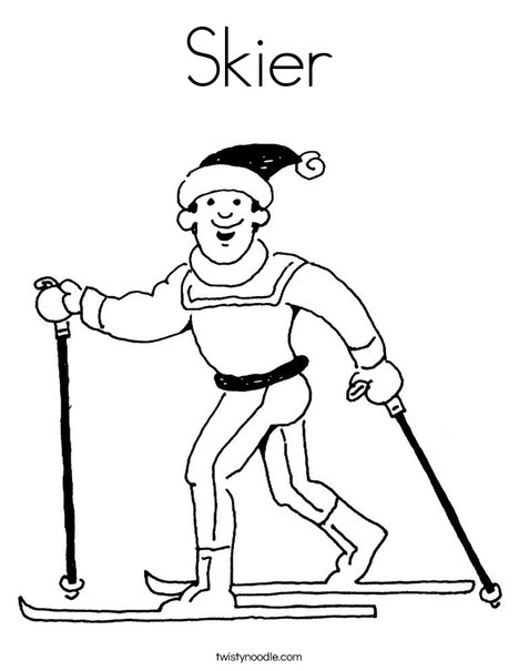 Skier Coloring Page