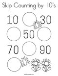 Skip Counting by 10's Coloring Page