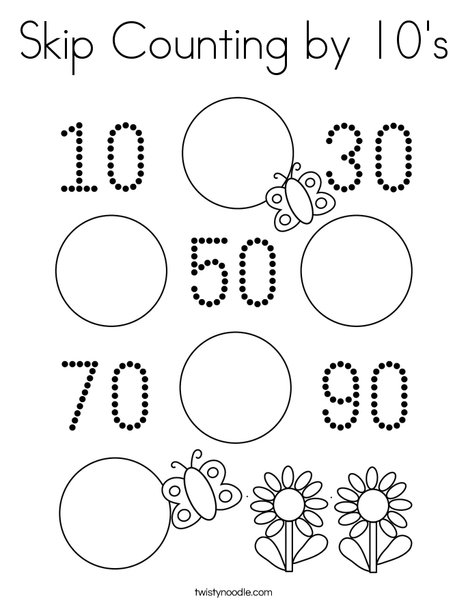 Skip Counting By 10's Coloring Page - Twisty Noodle