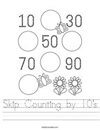 Skip Counting by 10's Handwriting Sheet