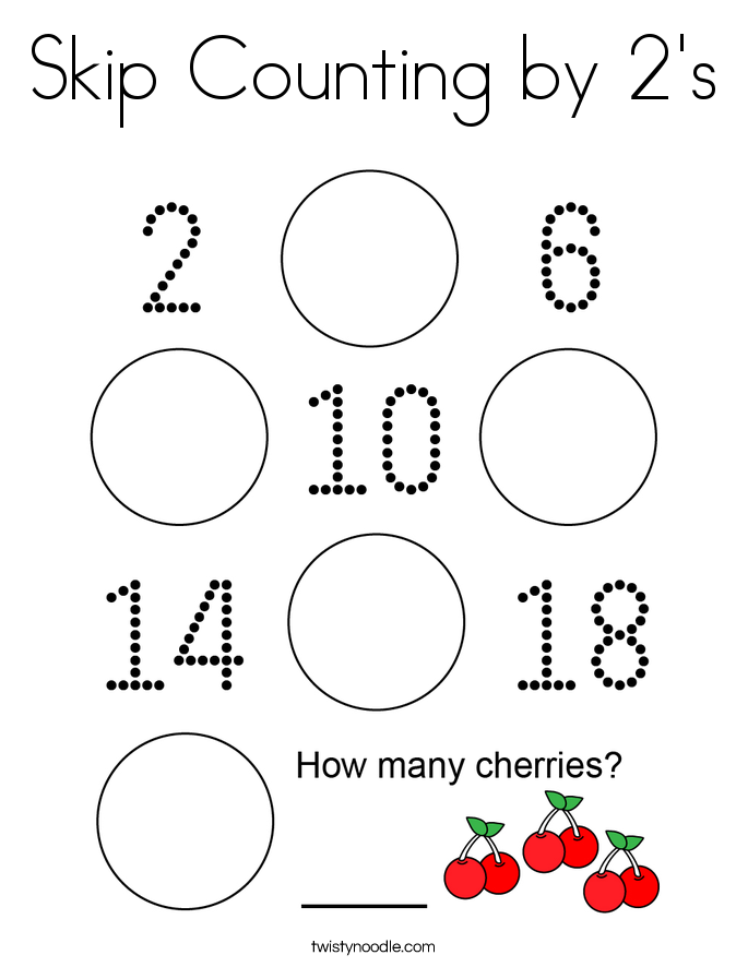 Skip Counting by 2's Coloring Page