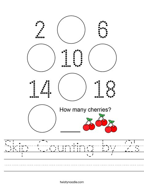 Skip Counting by 2's Worksheet