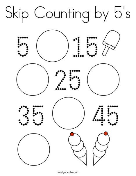 skip counting coloring pages | Skip Counting by 5's Coloring Page - Twisty Noodle