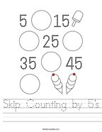 Skip Counting by 5's Handwriting Sheet