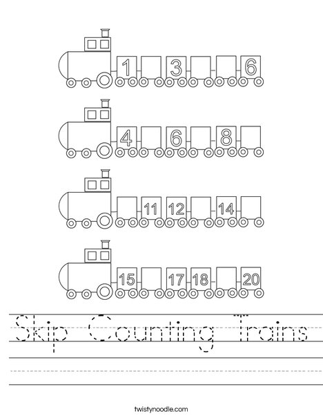 Skip Counting Trains Worksheet