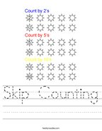 Skip Counting Handwriting Sheet