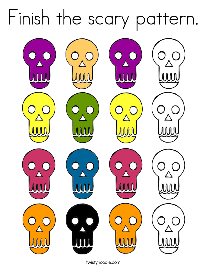 Finish the scary pattern. Coloring Page