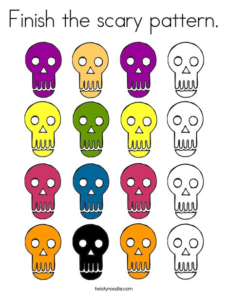 Skull Pattern Coloring Page