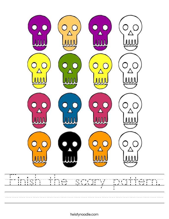 Finish the scary pattern. Worksheet