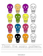 Finish the scary pattern Handwriting Sheet