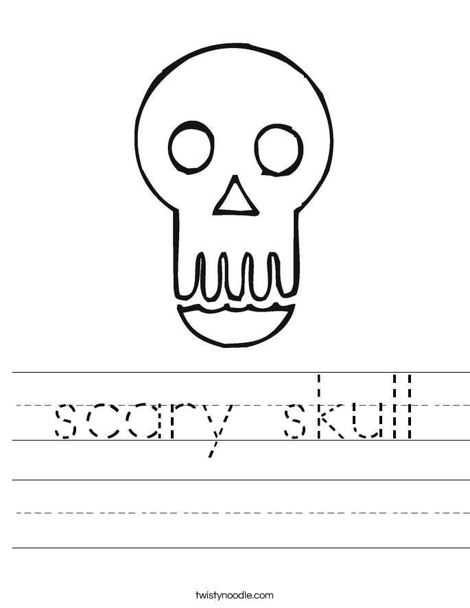 scary skull Worksheet
