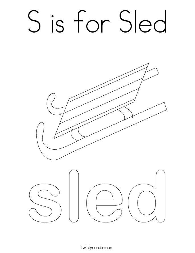 S is for Sled Coloring Page