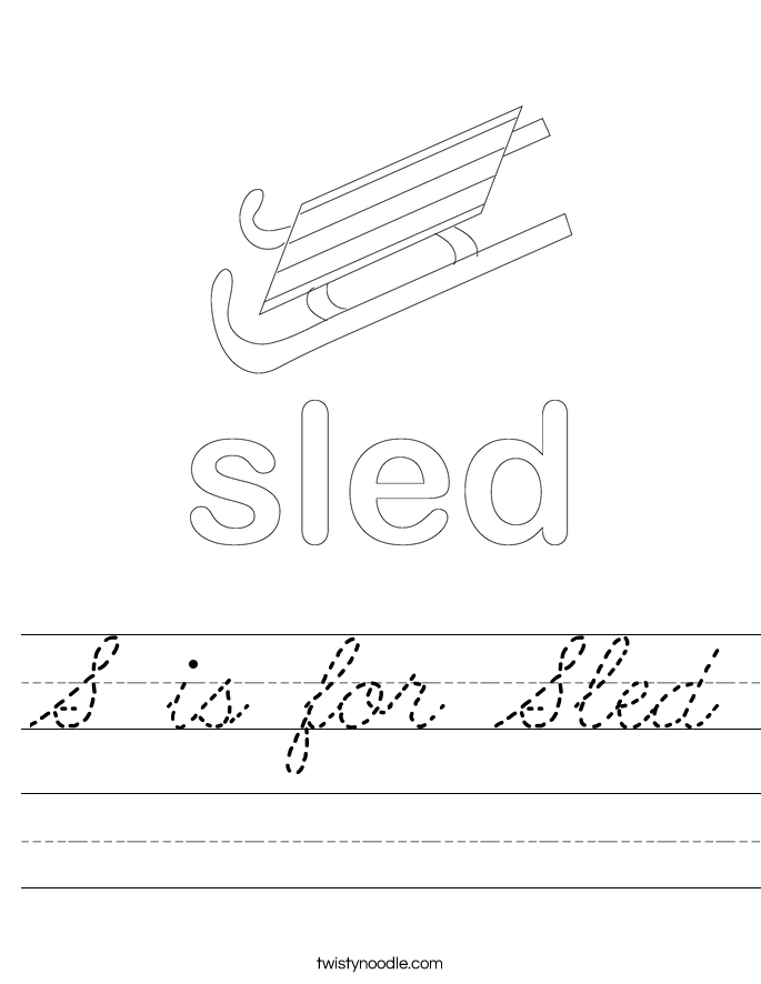 S is for Sled Worksheet